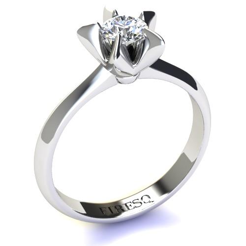 White Gold Diamond Engagement Ring Star Shaped Mounting Firesc