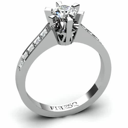 Channel heart frame diamond engagement ring  FIRESC Shop