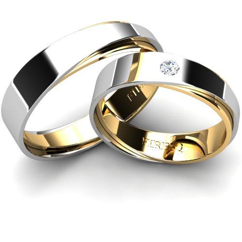 Asymmetrical White And Yellow Gold Wedding Rings With Diamond Firesc