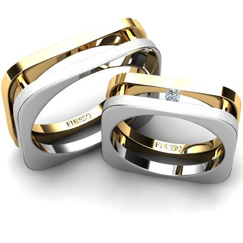 Flat Square White And Yellow Gold Diamond Wedding Rings Firesc