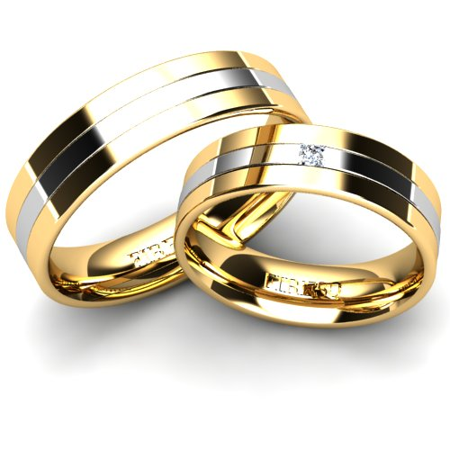 White And Yellow Gold Wedding Rings With Diamond Firesc