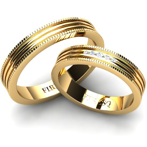 Wedding Rings With Triple Groove Surface And Brilliants